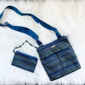 Baggallini Striped Crossbody Bag and Wallet Pouch